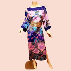 Vtg Oscar de La Renta hand printed Japanese kimono dress Gold sash Circa 1970's