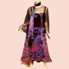 Vtg Edith Flagg hand painted maxi chiffon Hostess gown w/ long scarf