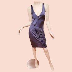 Vtg Christian Dior Paris Steel Grey sensual draped slip dress