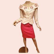 Italian Designer Magali first Sample embroidered skirt suit off shoulder Jacket