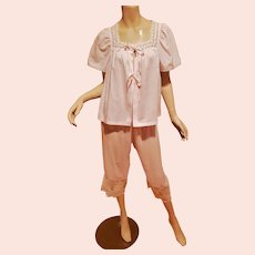 Vtg Sears bedroom ensemble Ballet Pink bed jacket and knickers with ribbons and lace