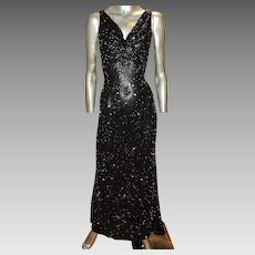 Vintage Silk Bias Gown Fully Beaded with Mini Onyx Bugle Beads