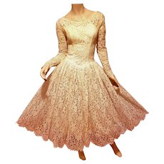 Romantic 1950's Ballerina Length French Lace bridal Gown
