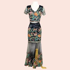Floral Embroidered 2pc Maxi skirt Set crop top