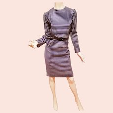 Galanos Couture navy/white striped light English wool pleated & Stitched details