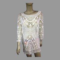 Vtg Crochet lace white cotton cover up dress plunge back