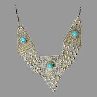 Judaica Bezalel style Yemenite gilded filigree silver old  Eilat stone necklace