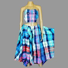 Vtg Patchwork Ensemble Maxi full skirt and crop Top