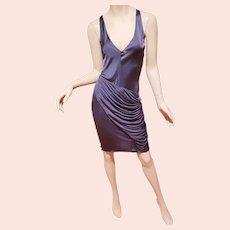 Vtg Christian Dior Paris Steel Grey sensual draped slip dress lace Chrystal applique