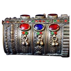 Antique cuff Bracelet decorated with stones Pakistan