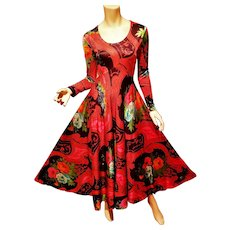 Hobo Chic 1950's multi colored floral printed maxi gown metal zipper
