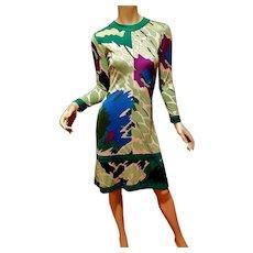 signed 1950's Averado Bessi raw silk knit wiggle dress  w/swirl purple green blue design metal zipper