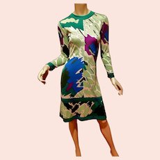 signed 1950's Averado Bessi raw silk knit wiggle dress  w/swirl purple green blue design metal zipper