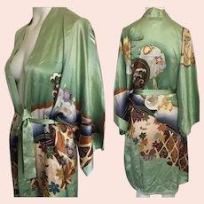 Old Shanghai Gorgeous hand Painted breathable silk Kimono Robe Cranes