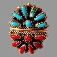 Signed DJ American Indian Zuni Cluster Ring Sterling Silver Turquoise & Coral