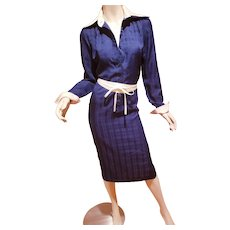 Vtg Lanvin 1970's navy two tone shirt dress a Classic seersucker jacquard belt