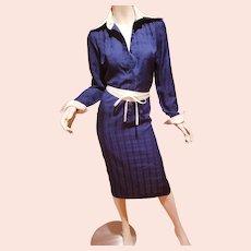 Vtg Lanvin 1970's navy two tone shirt dress a Classic seersucker jacquard belt