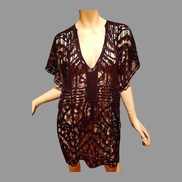 Vtg Lace Embroidered Kimono Tunic Macrame