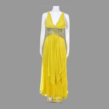 Designer Yellow Jeweled Chiffon open back Grecian maxi Gown