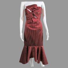 Strapless Rust and white striped dress ruffled hem bodice tie details silk blend