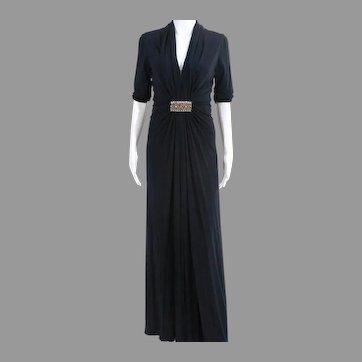 Vtg 90's doing 40's  Gathered draped Embellished maxi dress Navy Blue