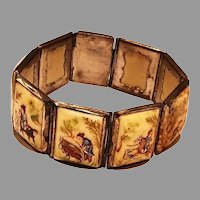 Vtg Persian Bracelet Story Panel Miniature Hand painted on silver metal