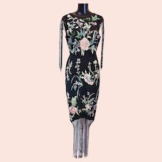 Embroidered Fringed floral midi dress  size 6