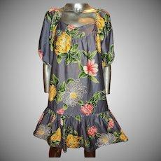 Vintage Hilo Hatties Hawaii Dress 1960 Screened Wild Flowers