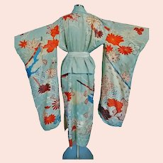 Early 20th century Japanese Embroidered & painted silk metallic belted Kimono