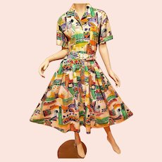 Vtg  1950-60's Old School painted patterned full sweep dress w/belt silver metal button front