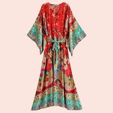 Boho Chic Festival Kimono dress red/aqua with belt