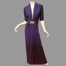 Vtg 90's doing 40's Navy Blue Draped maxi Embellished dress
