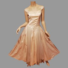 French Debutante Gown Raw Silk Tulle Corset Tie Bodice w/Guipure
