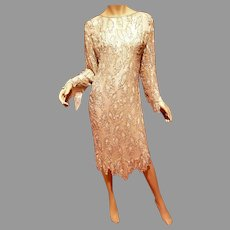 Vtg Saint Honore silk sequin beaded semi sheet flapper dress Deco
