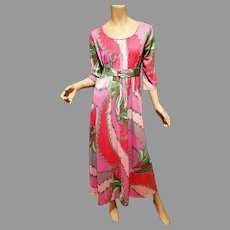 Vtg Keyloun Maxi printed Geometric dress with demi belt Bold coloration and Design