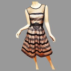 Vtg Circle dress 80's doing 50's Black and Tan with lace applique