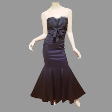 Vtg Cache Mermaid Ruched strapless Formal Gown with Tulle detail Kitten Bow