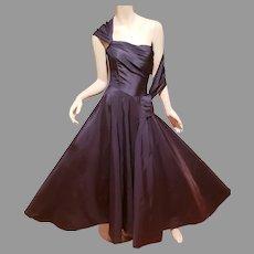 Vtg Halle Brothers 1940's navy silk Taffeta circle gown w/ shrug