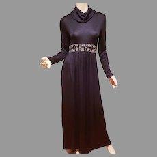 Vtg Circa 1960's Jersey Maxi dress Rhinestone Sash Trim