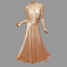 1930 Satin Plunging Old Hollywood Embellished Gown Bias and small Train