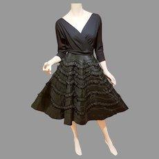 Vtg 1950 black cocktail Full circle dress special fringed detailed skirt