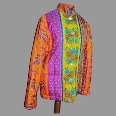 Ralph Lauren Black Label Silk Quilted colorful floral jacket Boho Chic Iconic