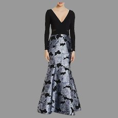 Brocade Formal  Mermaid like Gown silvery Grey floral on black with Cross over Black V Front/Back
