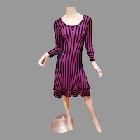 Purple/Fuchsia Santana knit striped dress A Line