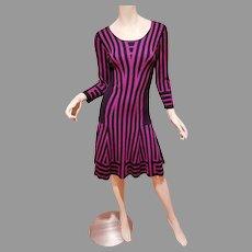Purple/Fuchsia Santana knit striped dress A Line