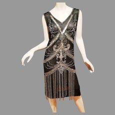 Antique 1910 Rare beaded silk chiffon Flapper evening dress crystal glass fringes