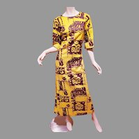 Vtg Hawaii 1960 Rai Nani  Sheath Maxi cotton dress Native Hawaiian Print
