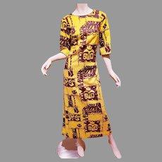 Vtg Hawaii 1960 Rai Nani  Sheath Maxi cotton dress Native Hawaiian Print