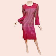 Santana Knit striped A Line Cerise red mini dress Cravanella