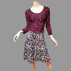 Santana Knit Two Tone color block Floral design A line Dress